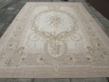 Vintage Hand Made French Design Wool Beige Cream Original Aubusson 373X276cm