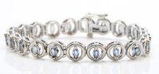 3.15 Carat Natural Blue Yogo Sapphires in 14K Solid White Gold Bracelet
