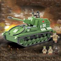 601pcs Militär SU-76M Panzer Gepanzerter Modell Bausteine mit WW2 Soldat Figuren