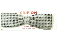 Grip Tite Vintage Clip On Bow Tie 1950s Silver Gray Check Bowtie Rust Resistant