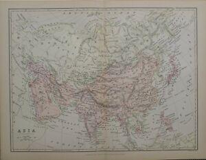 1886 PRINT MAP ASIA INDIA ARABIA TIBET TURKESTAN MONGOLIA CHINA JAPAN SIBERIA