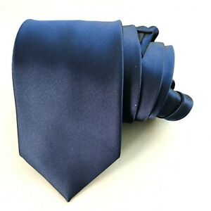"""Puccini Mens Neck Tie Navy Blue  Hand Made 100% Microfiber Sheen 3.5"""" by 60"""""""