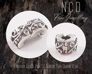 NC Designs Authentic Pandora Silver Pink CZ Tendril Clip Charm Bead 790380PCZ