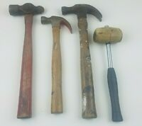 Vintage Hammer Lot (4) Plumb 20 oz Ball Peen Unbranded 16oz & 10oz Claw & Mallet