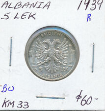ALBANIA 5 LEK 1939 R KM33 - BU