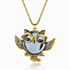 Cute owl colorful crystal pendant gold filled long chain necklace jewelry