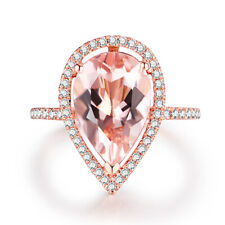 Pave&Prong 12x8mm Pear Morganite Real Diamonds 14K Rose Gold Gemstones Fine Ring