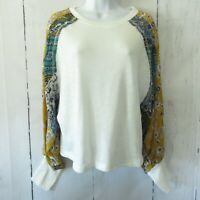 New Umgee Top S Small Ivory Floral Patchwork Mixed Print Puff Sleeve Boho Scarf