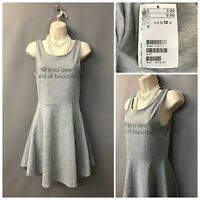 BNWT H&M Grey Midi Swing Skater Sleeveless Dress UK 12 EUR 38 RRP £7.99 Stretch