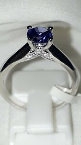 925 STERLING SILVER RHODIUM PLATED SOLITAIRE TANZANITE ENGAGEMENT RING 6 7 8 9