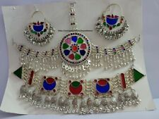 Afghan Kuchi Tribal Necklace Full Silver Set with Multi-Color stunning  Glass