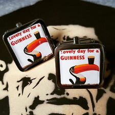 Unique! GUINNESS TOUCAN CUFFLINKS chrome RETRO advertising BLACK STUFF stout DAD