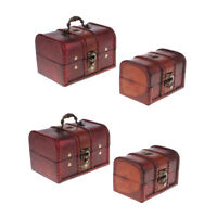 4x Wood Jewelry Box Necklace Bracelet Storage Lockable Treasure Chest Home Decor