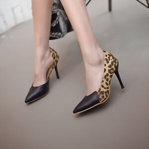 Fashion Womens Pointed Toe Leopard High Heels Pumps Color Block Stilettos Shoes
