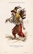 "SOLDAT AVENTURIER PILLARD - from 'COSTUMES DE PARIS"" - Hand-Col.Litho -1880"