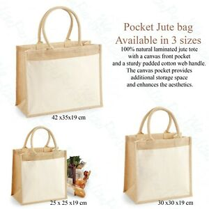 Jute Hessian Shopping Bag Cotton Pocket Westford Mill Reusable Carrier Sack Tote