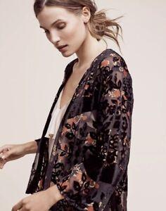 Anthropologie Kimono Silk Velvet Burnout Black Pink Tan Floral Roseband OS NWT