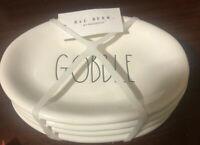 "Rae Dunn GOBBLE Oval 8"" Snack Plates- Set of 4 & 3 Sets Rae Dunn Napkins NEW"