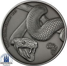 Afrika Serie: Gabun 2000 Francs CFA 2013 Antique Finish Snake 3 Silver Ounces