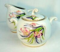 Vtg Ucagco Sugar Bowl With Lid Creamer Porcelain Floral Motive Gold Trim Japan