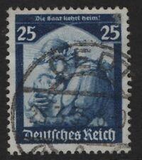 Germany SG 565 25pf Blue  Saar Restoration  1935  FINE USED