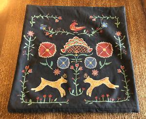 Ikea Renrepe Nordic Folk Art Floral Boho Cotton Pillow Cover Sham 20 x 20