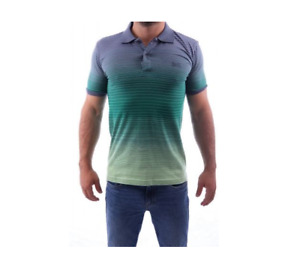 HUGO BOSS POLO T-SHIRT SIZE S GREY GREEN LOGO ON FRONT COTTON green LABEL