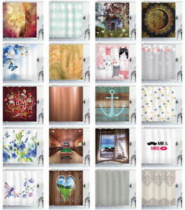 """Shower Curtain Set 70"""", 75"""", 84"""" Decor 12 Hooks Bathroom with by Ambesonne"""