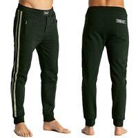 EVERLAST pantalone nero da uomo con bande grigio felpa polsino finale tasche zip