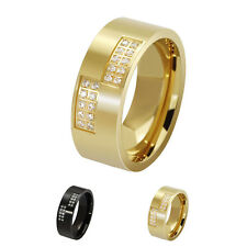 8MM CZ Gold/Black Stainless Steel Ring Wedding Band Women/Men's Jewelry Size7-13