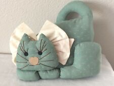 Vintage Green Cat Doll, Cat Shelf Sitter, Stuffed Cat, Handmade Fabric Cat Decor