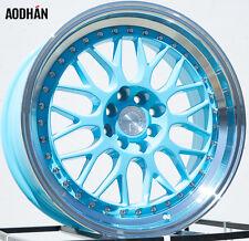 AODHAN AH02 17x8 4x100 / 4x114.3 +35 Tiffany Blue Machined Lip (PAIR) wheels