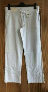 Ex NEXT NEW White Straight Leg Linen Trousers Regular Long XL Size 12 - 18