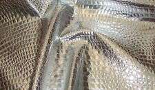 """faux vinyl upholstery leather fake Crocodile 54"""" Wide Silver fabric sold Rolled"""