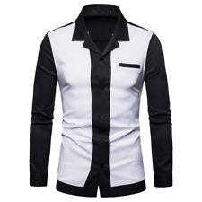 Men's Formal Slim Long Sleeved Shirt Solid Casual Cotton Button Down Dress Shirt