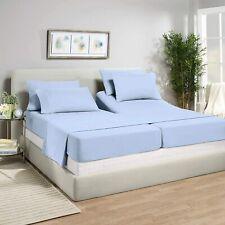 5 Pcs Split Bed Sheet Set Adjustable Bed Sheets 100% Cotton Light Blue Solid
