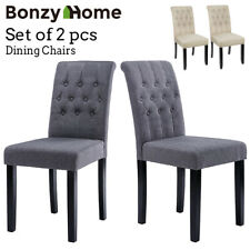 Set of 2 pcs Dining Room Chairs High Back Padded Modern Kitchen Chair Fabric