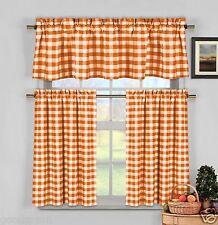 Orange Gingham Checkered Plaid Kitchen Tier Curtain Valance Set By Duck River