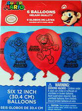 Super Mario Party Supplies LATEX BALLOONS Pack Of 6 Helium Quality Genuine Lic
