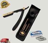 BARBER CUT THROAT SHAVETTE SHAVING MEN STRAIGHT RAZOR Folding BLACK STEEL BLADES