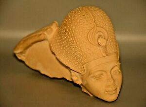 Antique Original Ancient Egyptian King Tut War Headdress Carved Bust Statue