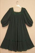 Vintage GREEN Cotton GAUZE Puff Sleeves FESTIVAL Hippie boho Peasant Dress M/L