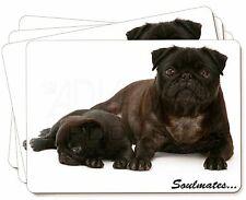 Negro carlino Perros SOULMATES Imagen Manteles individuales en caja de regalo,