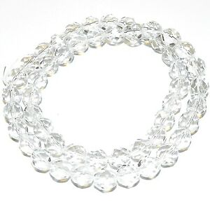 """CZ4111 Crystal Clear 8mm Fire-Polished Faceted Round Czech Glass Beads 16"""""""
