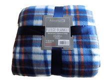 Soft and Warm King Throw 200x240cm Tartan Check Fleece (Blue Check)