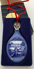 Bing & Grondahl B&G 1985 Blue Barn Wagon Christmas Teardrop Porcelain Ornament