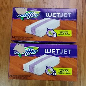 Swiffer Wet Jet Multi Surface Mopping Pads (24Ct.) Absorb+Lock Lot Of 2 Bundle