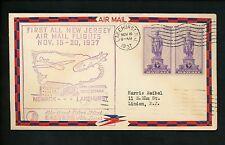 US Postal History Airmail First All New Jersey Flight 1937 Lakehurst NJ