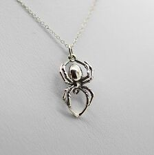 SPIDER NECKLACE - 925 Sterling Silver - Insect Arachnid Halloween Spider Charm