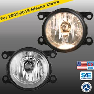 2005-2015 For Nissan Xterra Clear Lens Pair Bumper Fog Lights Driving Lamps